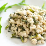 Orzotto (Barley Risotto) with Dandelion Greens and Mascarpone Cheese