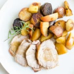 Pancetta-wrapped Pork Tenderloin with Apples + Pan-roasted Apples and Potatoes